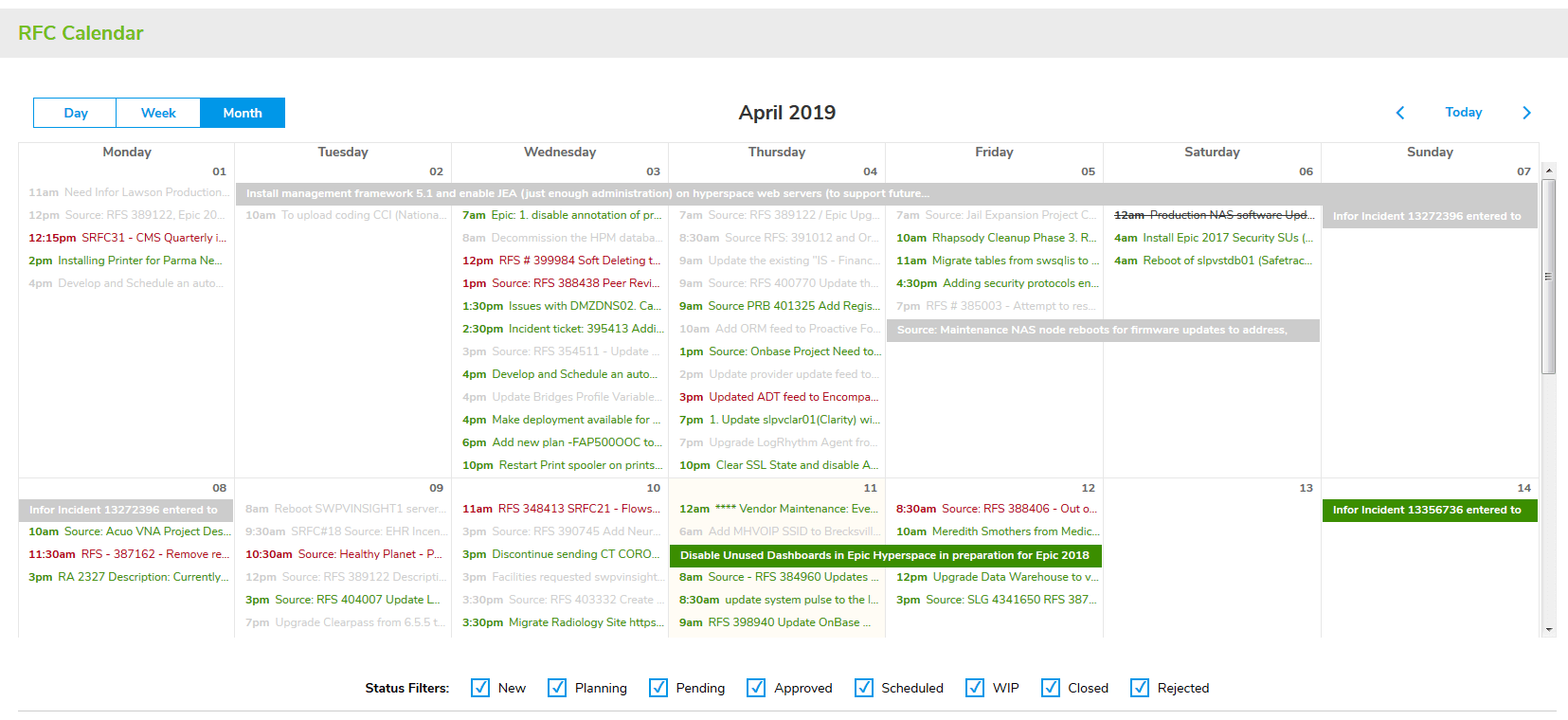 Change Management RFC Calendar