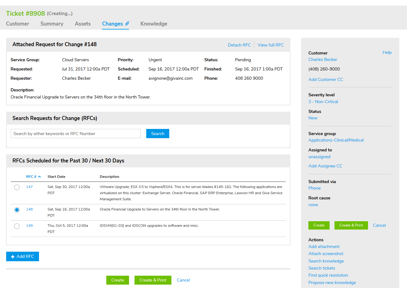 List of Change Requests on Help Desk Ticket