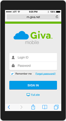 Giva Mobile Login