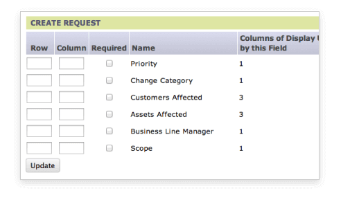 Customizing Change Management Request Layout